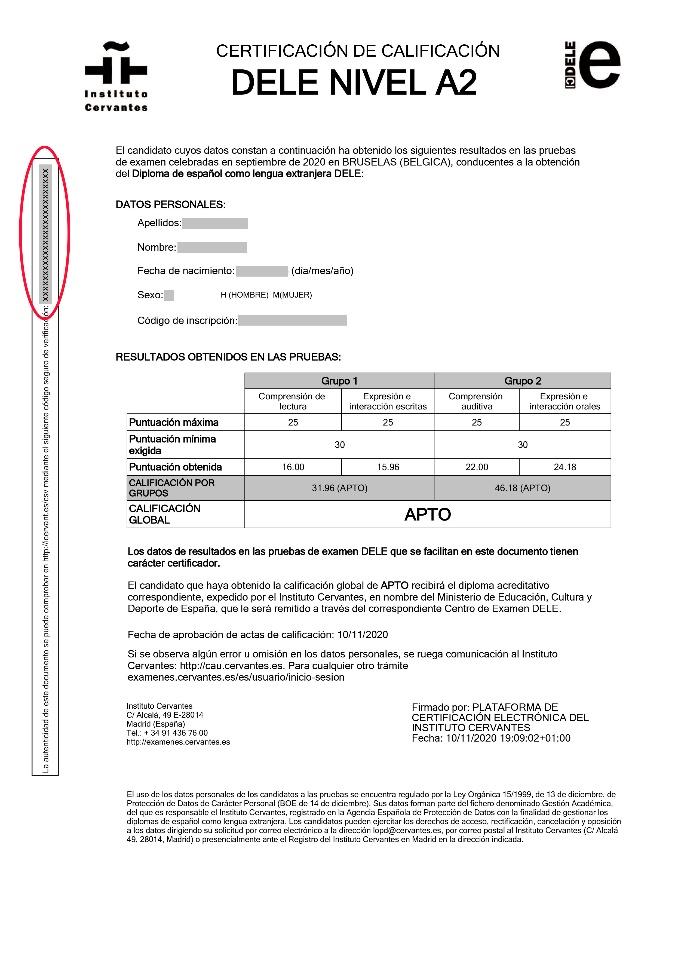 Certificado de calificaciones DELE con la localización del CSV destacada