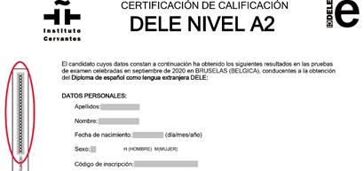 Detalle de la localización del CSV en el certificado