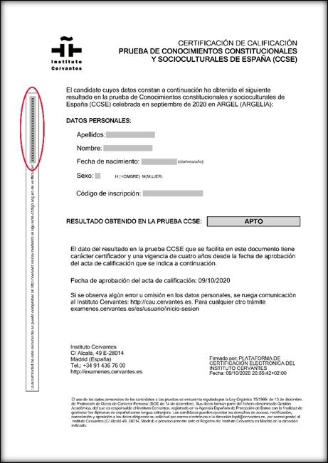 Certificado con la localización del código CSV destacada